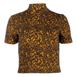 Top court imprimé léopard col cheminée Femme VANS marque pas cher prix dégriffés destockage