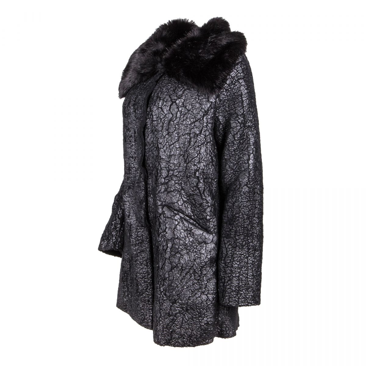 noir Manteau GUESS fourrure col Femme à dégriffé prix fausse k8Pn0Ow