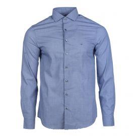 Chemise imprimée cintrée bleu manches longues Homme CALVIN KLEIN marque pas cher prix dégriffés destockage