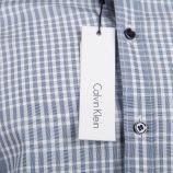 Chemise cintrée gris à carreaux manches longues Homme CALVIN KLEIN marque pas cher prix dégriffés destockage