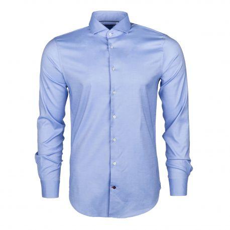Chemise cintrée à manches longues bleu Homme TOMMY HILFIGER marque pas cher prix dégriffés destockage
