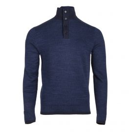 Pull bleu col camionneur manches longues Homme TOMMY HILFIGER