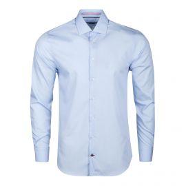 Chemise bleu clair manches longues coupe cintrée Homme TOMMY HILFIGER marque pas cher prix dégriffés destockage