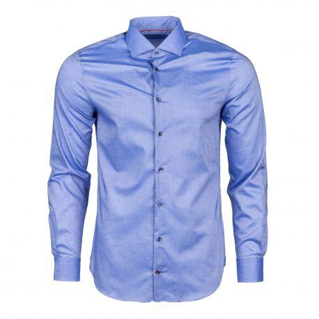 Chemise bleu manches longues cintrée Homme TOMMY HILFIGER marque pas cher prix dégriffés destockage