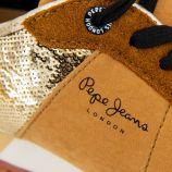 Baskets en cuir camel détail sequins Femme PEPE JEANS marque pas cher prix dégriffés destockage