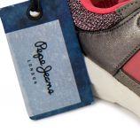 Baskets en cuir gris/rose PEPE JEANS marque pas cher prix dégriffés destockage