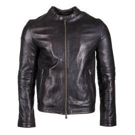 Blouson noir en cuir Homme ZADIG & VOLTAIRE marque pas cher prix dégriffés destockage
