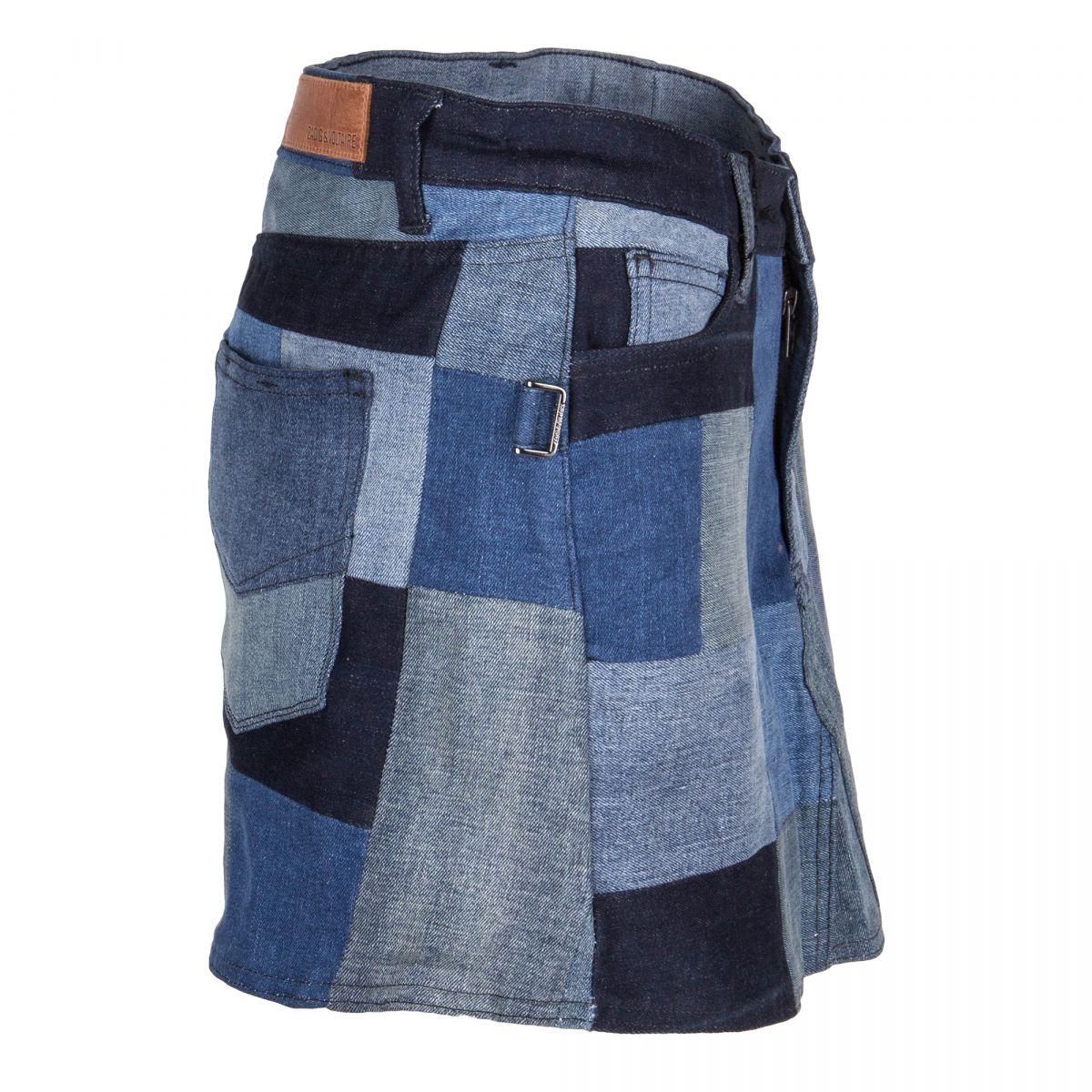 Mini jupe en pachtwork Femme ZADIG & VOLTAIRE à prix dégriffé !