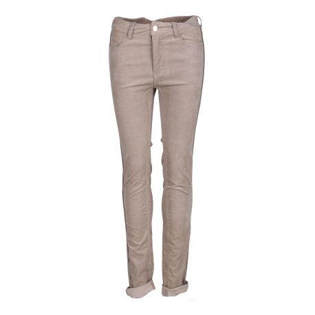 Pantalon 5 poches en velours beige Femme ZADIG & VOLTAIRE marque pas cher prix dégriffés destockage