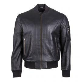 Blouson en cuir noir Homme ZADIG & VOLTAIRE marque pas cher prix dégriffés destockage
