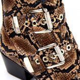 Bottines à talons effet python double boucle zip côté Femme MTNG marque pas cher prix dégriffés destockage
