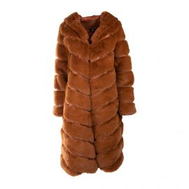Manteau long capuche taupe bouton 19208 Femme EMERAUDE marque pas cher prix dégriffés destockage