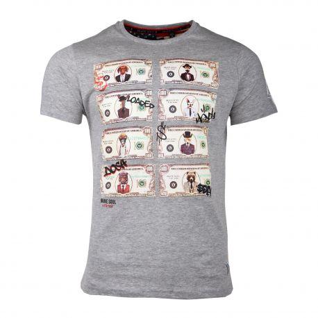 Tee-shirt mc MTS 149 MYTHICAL imprimé dollars Homme BRAVE SOUL marque pas cher prix dégriffés destockage