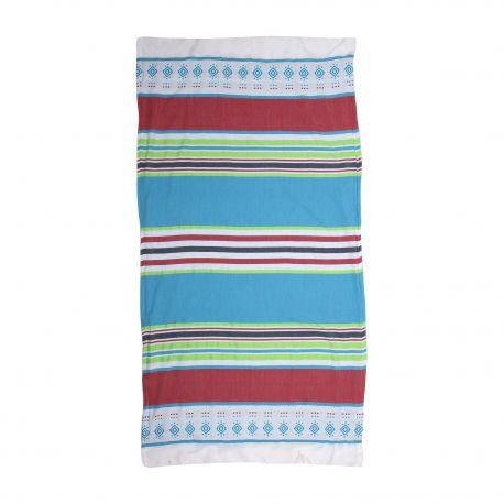 Fouta rayée multicolore 1x2m SUN&SURY marque pas cher prix dégriffés destockage