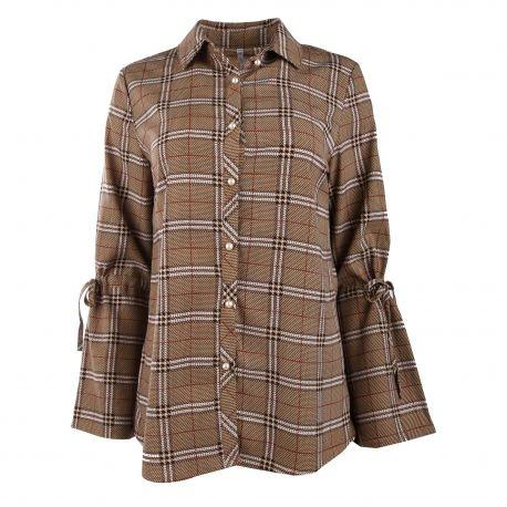 Chemise manches longues écossais boutons perle Femme CARE OF YOU marque pas cher prix dégriffés destockage