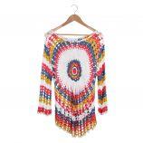 Haut manches longues crochet multicolore Femme CARE OF YOU marque pas cher prix dégriffés destockage