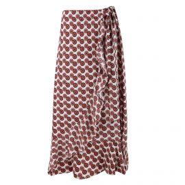 Jupe longue croisée nouée taille graphique Femme CARE OF YOU marque pas cher prix dégriffés destockage