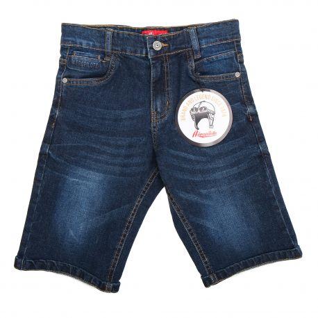 Bermuda jeans logo poche embossé Enfant AEROPILOTE marque pas cher prix dégriffés destockage