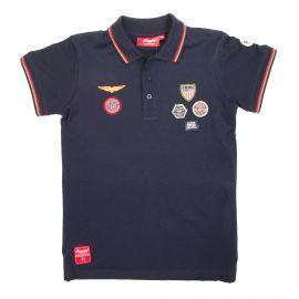 Polo manches courtes multi écussons coton piqué Enfant AEROPILOTE marque pas cher prix dégriffés destockage