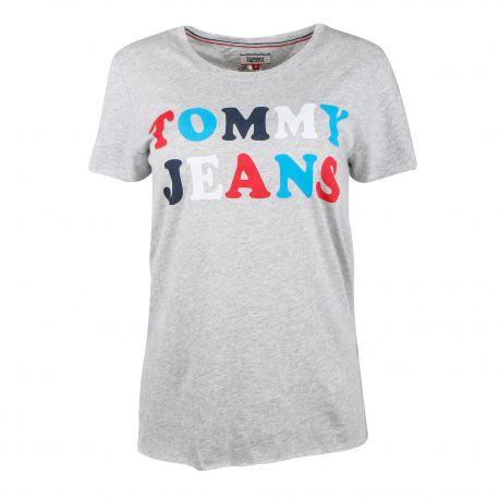 Tee shirt manches courtes logo multicolore Femme TOMMY HILFIGER marque pas cher prix dégriffés destockage