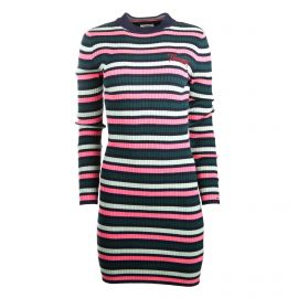 Robe manches longues maille chaussette rayure multicolore Femme TOMMY HILFIGER marque pas cher prix dégriffés destockage