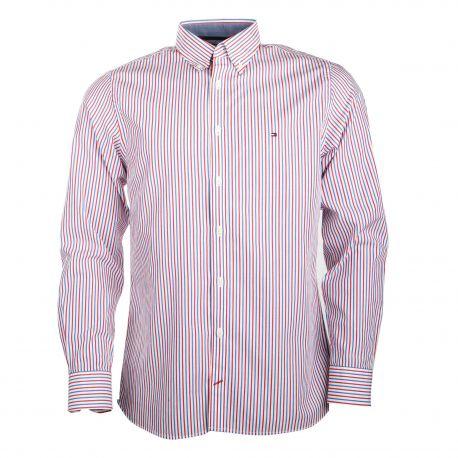 Chemise manches longues coton rayures tricolores col boutonné Homme TOMMY HILFIGER marque pas cher prix dégriffés destockage