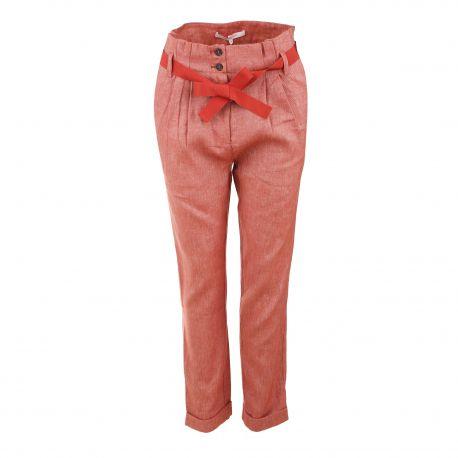 Pantalon lin mix pinces taille haute ceinture noeud gros grain Femme LA FEE MARABOUTEE marque pas cher prix dégriffés destockage