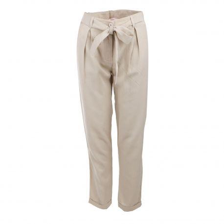 Pantalon léger taille haute ceinturée bas revers Femme LA FEE MARABOUTEE marque pas cher prix dégriffés destockage