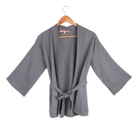 Veste kimono ceinturée manches longues raglan légère Femme LA FEE MARABOUTEE marque pas cher prix dégriffés destockage