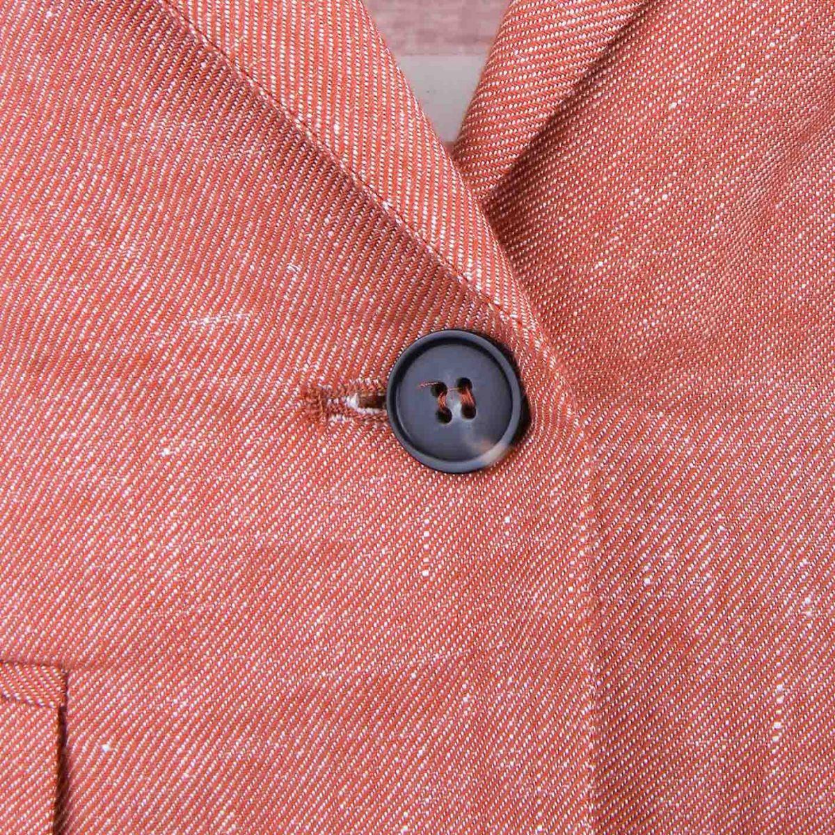 Veste droite lin mix manches froncées poches rabat