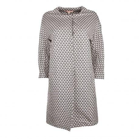 Manteau droit oversize jacquard graphique manches raglan 2 poches Femme LA FEE MARABOUTEE marque pas cher prix dégriffés dest...