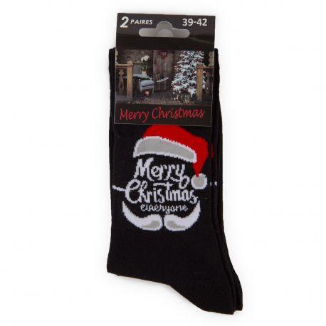 Lot de 2 paires de chaussettes noires Noël Homme AZERTEX marque pas cher prix dégriffés destockage