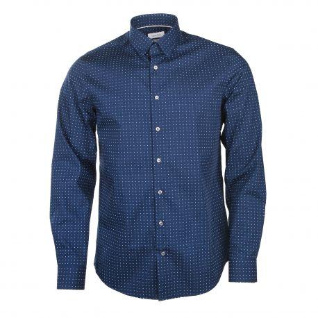 Chemise manches longues ajustée coton doux graphique Homme CALVIN KLEIN marque pas cher prix dégriffés destockage