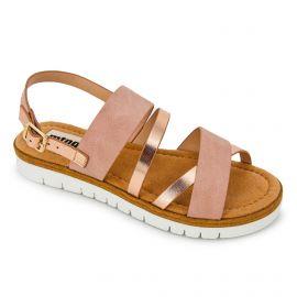 Sandales plateforme bi-matière métallisé semelle crantée boucle Femme MUSTANG marque pas cher prix dégriffés destockage