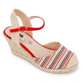 Sandales compensées rayées toile légère semelle corde boucle Femme MTNG marque pas cher prix dégriffés destockage