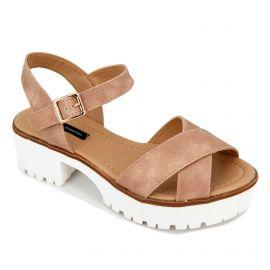 Sandales plateforme effet vieilli semelle crantée boucle Femme MTNG marque pas cher prix dégriffés destockage