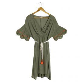 Robe manches courtes légère ceinturée pompon broderies doré Envie d'ailleurs Femme Femme LES TROPEZIENNES PAR M.BELARBI marqu...