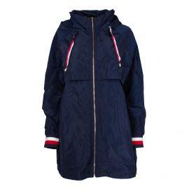 Veste longue coupe vent déperlant capuche cordon bord côte tricolore zip Femme TOMMY HILFIGER marque pas cher prix dégriffés ...