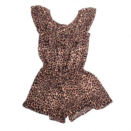 Combishort imprimé léopard épaules dénudées volant Enfant NAME IT marque pas cher prix dégriffés destockage