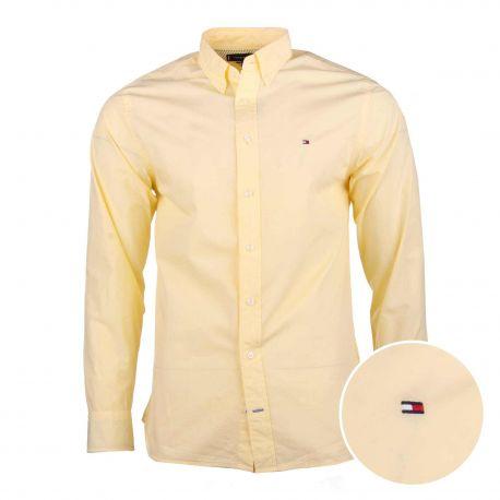 Chemise manches longues coton doux BCI col boutonné tag brodé Homme TOMMY HILFIGER marque pas cher prix dégriffés destockage