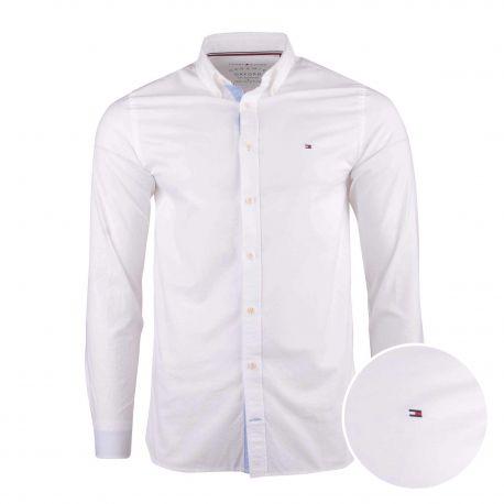 Chemise manches longues coton doux organique Oxford col boutonné tag brodé Homme TOMMY HILFIGER marque pas cher prix dégriffé...