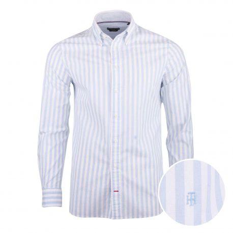 Chemise manches longues coton doux BCI sergé rayé coupe droite col boutonné Homme TOMMY HILFIGER marque pas cher prix dégriff...