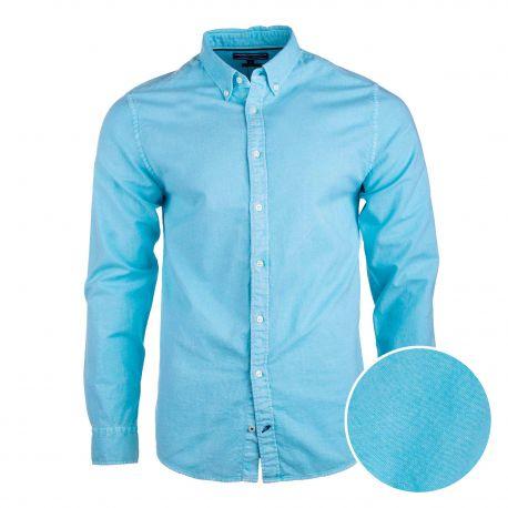 Chemise manches longues coton doux BCI coupe droite col boutonné Homme TOMMY HILFIGER marque pas cher prix dégriffés destockage