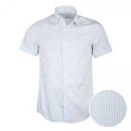 Chemise manches courtes slim coton doux rayé bicolore Homme CALVIN KLEIN marque pas cher prix dégriffés destockage