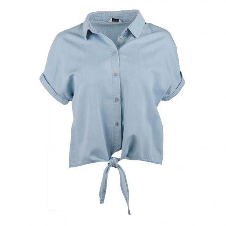 Chemise manches courtes à nouer chambray Femme ONLY marque pas cher prix dégriffés destockage
