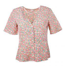 Chemise manches courtes col V boutonné imprimé fleurs Femme SELECTED marque pas cher prix dégriffés destockage