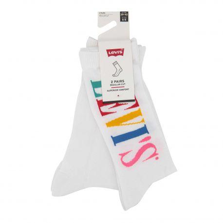 Lot de 2 paires de chaussettes jacquard confort coton doux stretch renfort talon orteil Mixte LEVI'S marque pas cher prix dég...