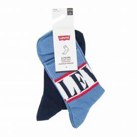 Lot de 2 paires de chaussettes blue t39 a 46 Homme LEVI'S marque pas cher prix dégriffés destockage