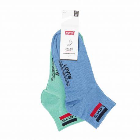 Lot de 2 paires de mi-chaussettes confort coton doux stretch renfort talon orteil Homme LEVI'S marque pas cher prix dégriffés...