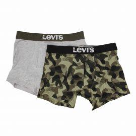 Lot de 2 boxers confort coton doux stretch uni camouflage Homme LEVI'S marque pas cher prix dégriffés destockage